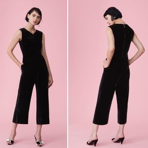 NWT Rebecca Taylor Ruched Velvet Jumpsuit In Black